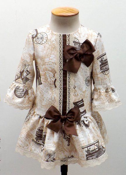 Vestido para bebe niña villela estampado con motivos - Otoño/Invierno - MiBebesito. Ropa de Bebe y moda flamenca infantil hecha a mano