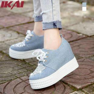 Xwk072-5 diseñador de la marca Women Shoes moda plataforma Creepers primavera verano otoño pisos femeninos cuñas de lona enredadera zapatos
