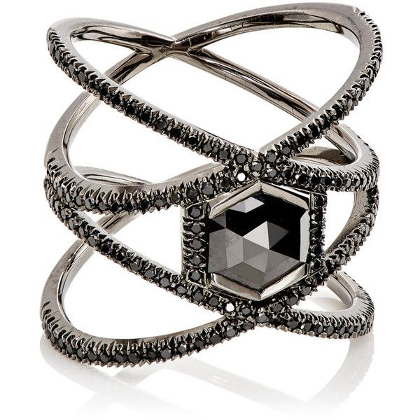 Eva Fehren Women's XX Ring (£9,840) ❤ liked on Polyvore featuring jewelry, rings, accessories, anel, no color, pave jewelry, band rings, 18k white gold ring, white gold band ring and 18k ring
