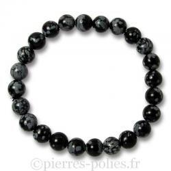 Bracelet boules 8 mm - Obsidienne neige - n°1