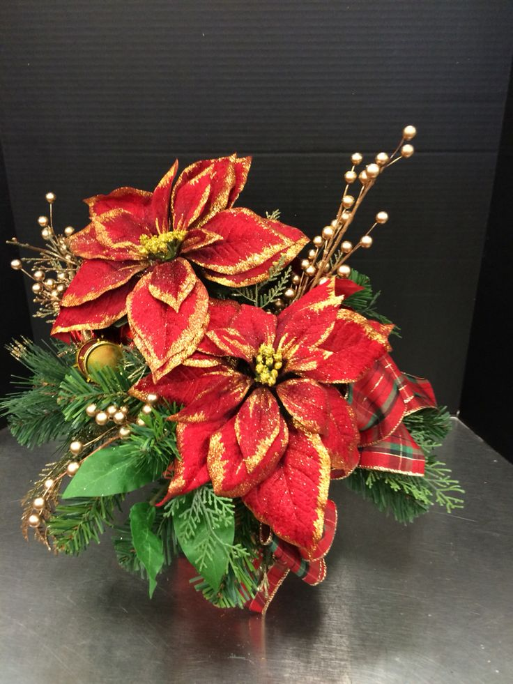 Red and gold custom floral by Andrea for Michaels Round Rock