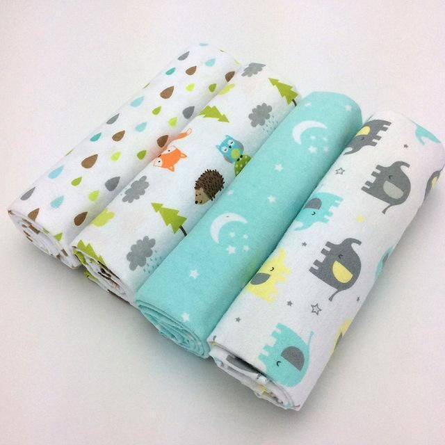 New Color 4pcs Pack 100 Cotton Flannel Baby Blanket Receiving Newborn Colorful Cobertor Baby Flannel Baby Blankets Baby Flannel Cotton Baby Blankets