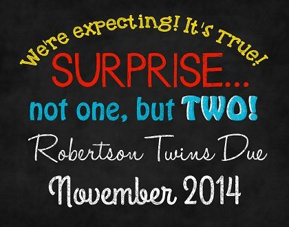 Twin Pregnancy Announcement Printable by DarlingSailorDesigns, $10.00