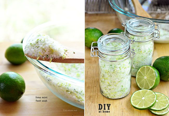 DIY Lime Mint Foot Soak   Mother's Day is May 12th this year, this simple to make Lime & Mint Foot Soak packaged up in a cute jar with a label you can download and print for free would make a great gift for any Mom.  Great idea for Teacher Appreciation Gift too!   From: tidymom.net