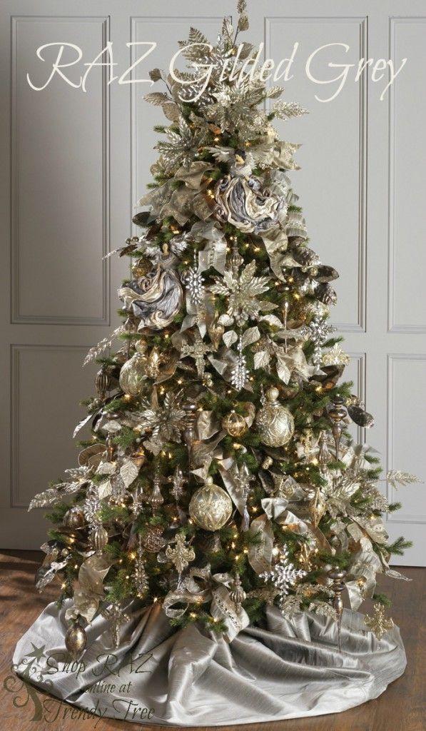 165 best images about christmas trees natural floral on - Arbol de navidad dorado ...