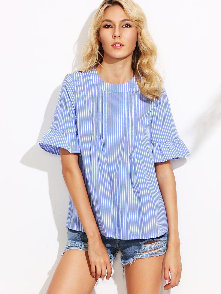 Blusa rayas verticales manga de volantes botones - azul-Spanish SheIn(Sheinside)