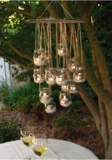 DIY Outdoor Garden Chandelier Round-up: DIY Chandelier garden glass jar