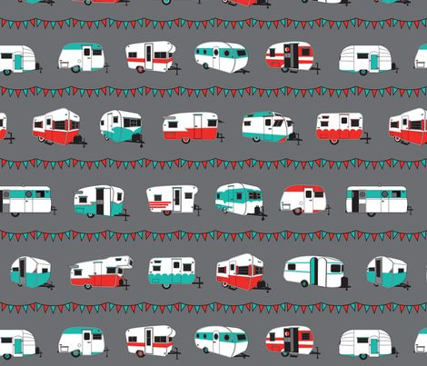 Happy Campers (med) in Red and Aqua fabric by space_moderne on Spoonflower - custom fabric