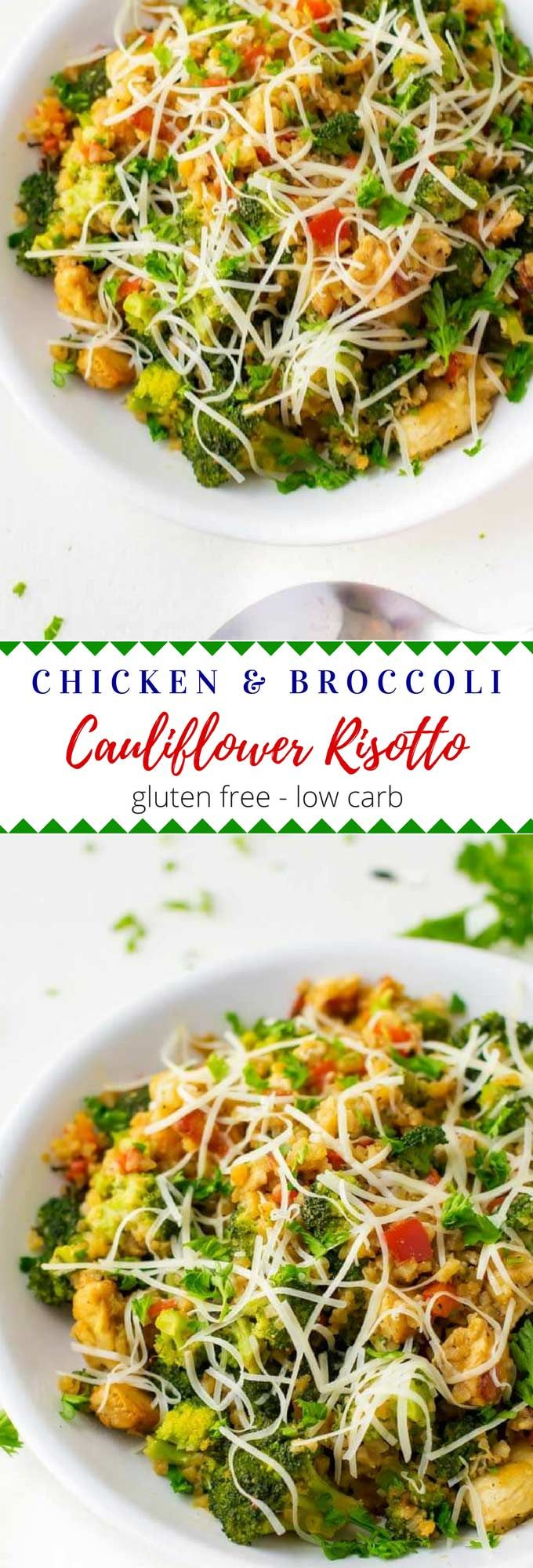 This one-pan recipe for Chicken Broccoli Cauliflower Risotto is low-carb and comes together in about 20 minutes.  It is an easy weeknight recipe that is perfect for a clean eating diet.  Gluten-Free and Keto Friendly. #ad  #AlexiaVeggieSides @alexiafoods