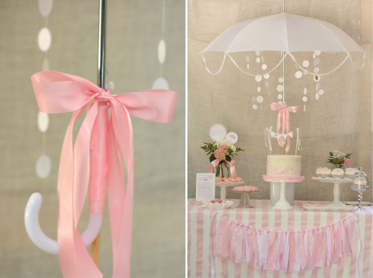 "Umbrella and rain ""sprinkles"" as decor as this baby sprinkle - too adorable for words! {Click to see the whole party} #babyshower #babysprinkle"