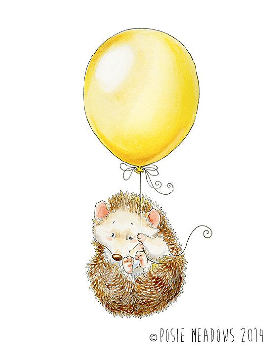 Hold On Tight! - hedgehog Watercolor Giclee Print, Original Artwork, Children's illustration, Nursery Wall Art