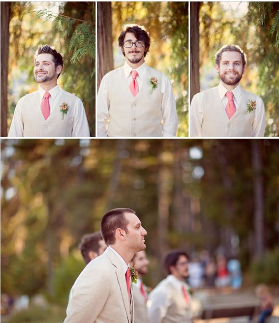tan suits with peach ties. Love that groomsman wear only vests and groom wears the jacket!