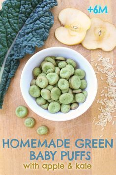 """Green homemade baby puffs with apple and kale: gluten free + dairy free + refined sugar free. Baby puffs are a super baby snack idea, they simply melt in your baby's mouth. The homemade version is sooo simple to make that you will be surprised!! Also, you can really play with the ingredients changing flavor & color using seasonal organic ingredients!! LOL, these puffs were sooo good that my kids too (4yr and 6yr) enjoyed them as """"green chips"""". Suitable starting from +6M"""