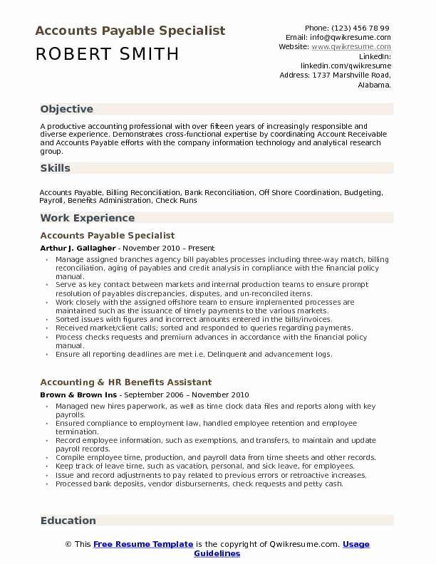 Accounts Payable Job Description Resume New Accounts Payable Specialist Resume Samples Good Resume Examples Resume Cover Letter Examples Resume Examples