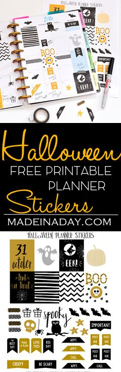 October Halloween FREE Printable Planner Stickers,Come and get your sweet scary planner sticker for Halloween! via @madeinaday