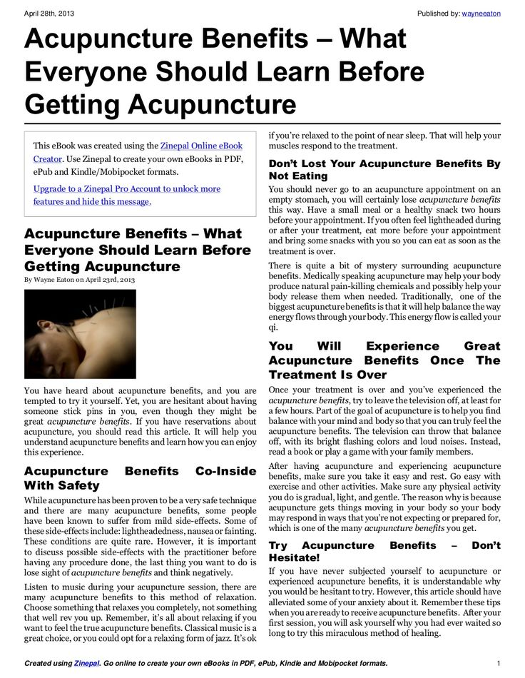 the benefits of acupuncture Acupuncture may have some evidence-based benefits for anxiety symptoms here's what the research says and what you can expect during your first appointment.