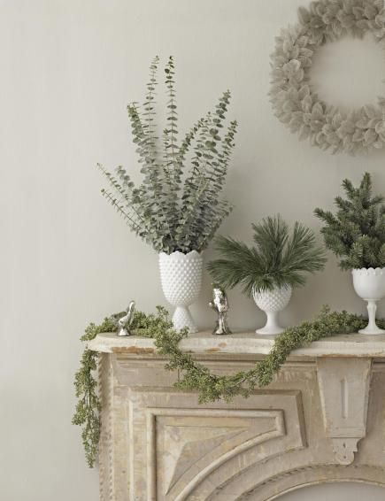 Christmas Mantel | Fragrant Greenery. Eucalyptus and Pine: