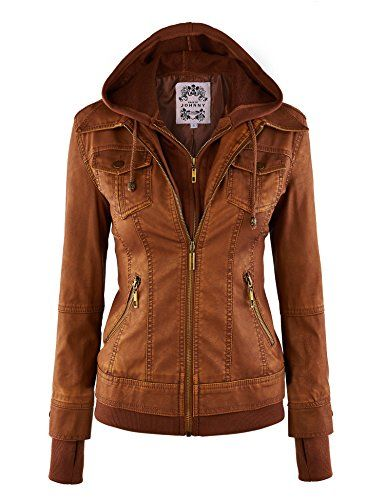 50% OFF SALE PRICE - $19.95 - MBJ Womens Faux Leather Jacket with Hoodie