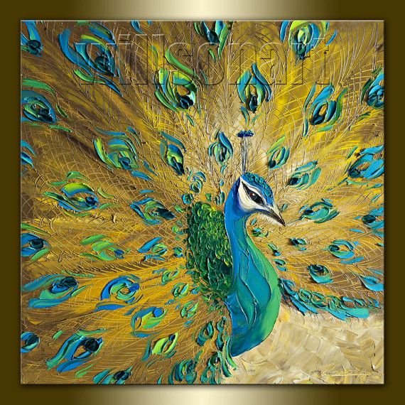 Original Peacock Oil Painting Textured Palette Knife Contemporary Modern Animal Art 20X20 by Willson Lau. $255.00, via Etsy.