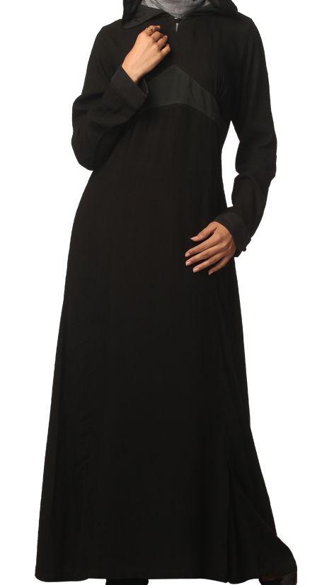 Black jilbab with hood