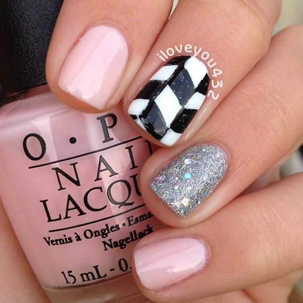 Pink, white, black and silver glitter. I would probably would do the black and white nail