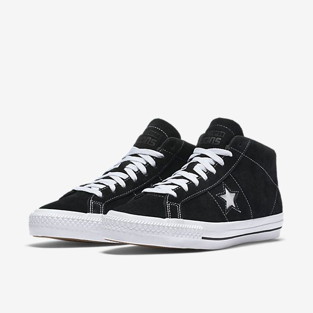 Converse One Star Pro Mid Black Leather Skate Shoes