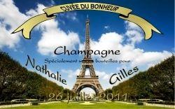 Etiquette champagne personnalisée Paris tour eiffel