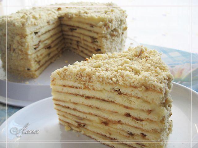 Торт на сковороде - тесто на сгущенке, крем заварной