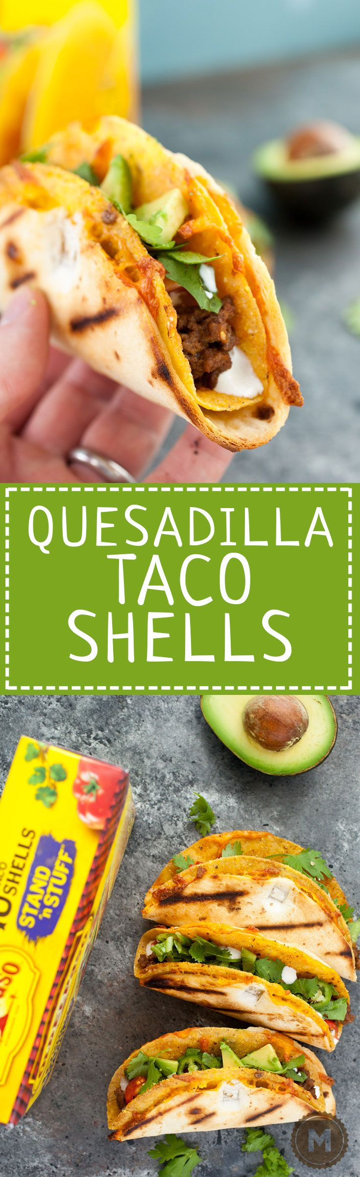 Quesadilla Taco Shells: Want to kick your taco game up a notch this year? Make these delicious quesadilla taco shells and stuff them to your heart's desire!   macheesmo.com