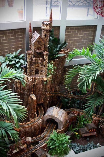 Minature castle with Z  Scale train