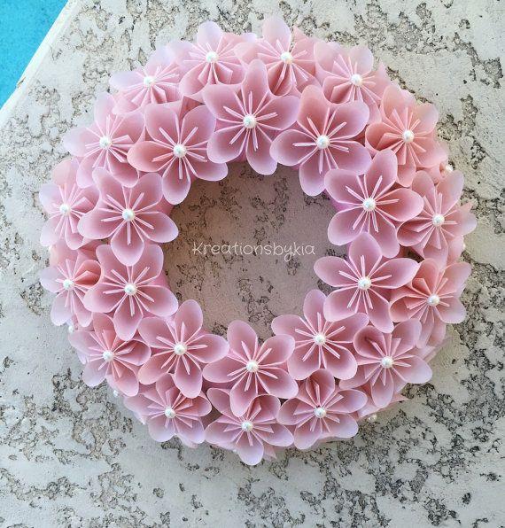 Origami Paper Flower Pink Wreath / wedding by kreationsbykia