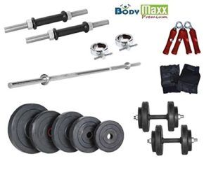 Home Gym Pack of Rubber Weight Plates, Dumbells Rods, 5ft Bench/Shoulder Bar, Gloves, Hand Gripper. Buy Home Gym Equipment Online at OnlinePrices in India.