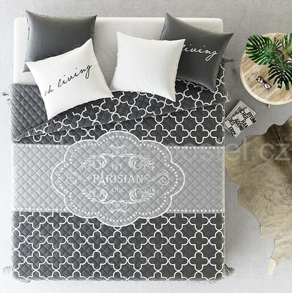 Přehozy přes postel ve francouzském stylu šedé barvy