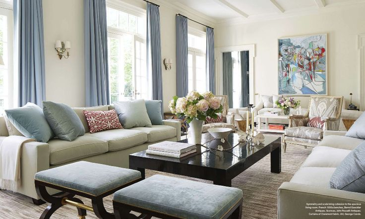 Love the french benches in pale blue and coffee table, designer Victoria Hagan in Veranda May 14