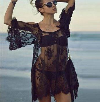 2015 moda swimwears seksi tığ beyaz siyah dantel plaj elbisesi kadın kapak- up yaz bikini örtbas çıkış plaj kıyafeti 04a