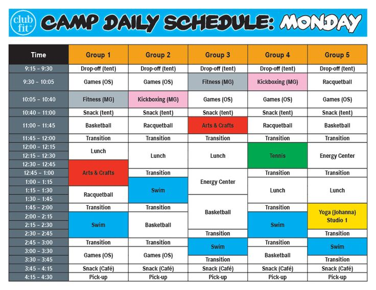 Monday Daily Activity Schedule | Summer Camp | Club Fit Briarcliff