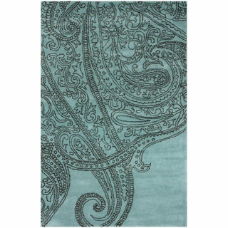 Handmade Paisley Blue / Grey Wool Rug