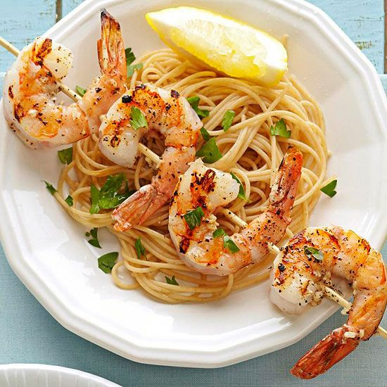 Firing up the grill this Memorial Day? For a lighter dish, try our Skewered Shrimp Scampi. It's ready in just 30 minutes. More healthy grilling: http://www.bhg.com/recipes/healthy/dinner/heart-healthy-grilling-recipes/ #myplate