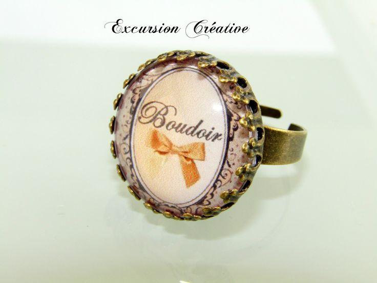 """Bague réglable beige """"Boudoir Noeud"""" style Vintage 20 mm en métal couleur bronze : Bague par excursion-creative"""