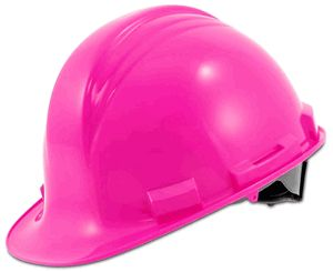 Pink Hard Hat by North - Peak Ratchet Adjust. I love my safety pink stuff! The guys don't try and steal it!