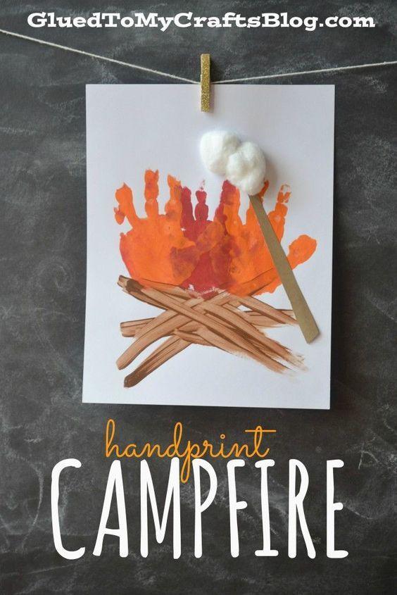 Handprint Campfire - Great summer craft for speech therapy!