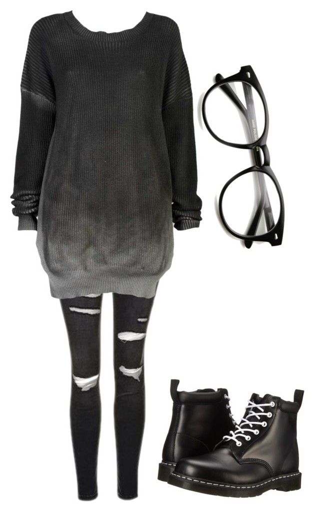 """I need new glasses"" by akwardpotato on Polyvore featuring Topshop, Ksubi and Dr. Martens"