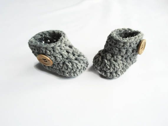 Grey newborn booties Handmade newborn boots Baby shoes Baby announcement Pregnancy reveal New grandparents Baby gift Baby pregnancy reveal