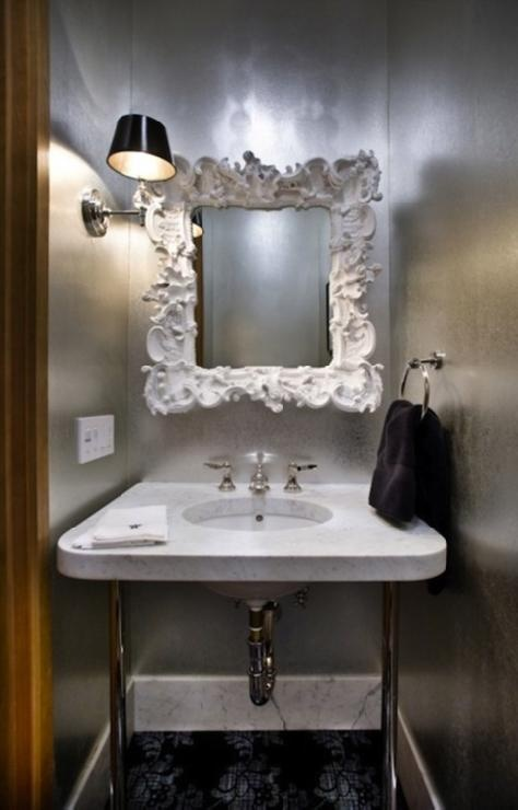metallic wallpaper for half bath - photo #19