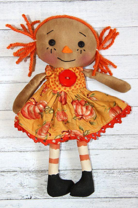 Tiny Pumpkin Penny Primitive Autumn Raggedy by HeartstringAnnie, $19.00