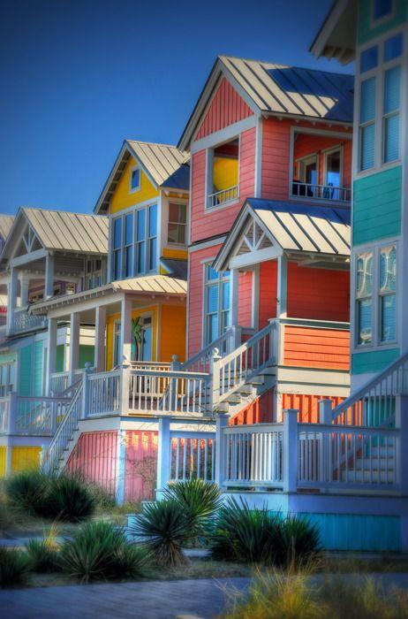 Colorful beach houses in Atlantic Beach, NC, USA
