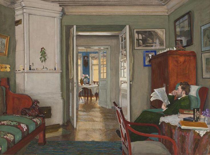А.П. Остроумова-Лебедева. С. В. Лебедев в своем кабинете. 1912. Бумага, гуашь…
