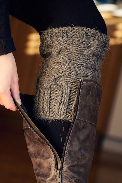 DIY Boot socks idea.  This is less bulky than a full footed sock.  Take off the sleeves from old or thrift-store sweaters and do a quick seam.  Viola!  (Use the rest of the sweater to make a pillow.)
