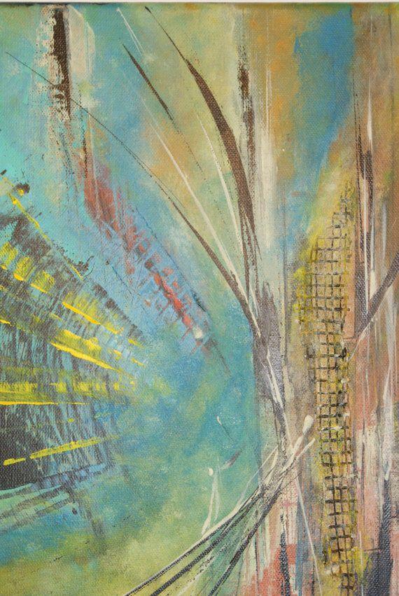 Título: Escape  Tamaño: Galería de 50x40x1.6 cm envuelto lona  Borde pintado listo para colgar, marco incluido  Arte originales sobre lienzo de calidad en pintura acrílica y técnica mixta