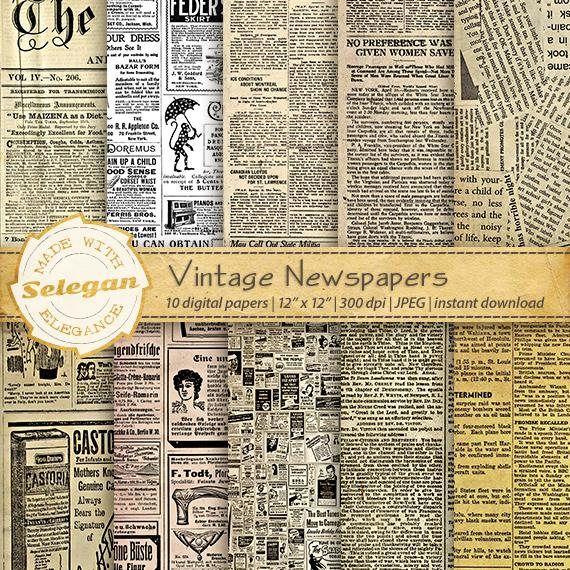 Printable Newspaper Vintage Newspapers Digital Scrapbook Paper Backgrounds 12x12 Old Newspaper Paper Pack Antique Ads Vintage Newspaper Newspaper Background Printable Scrapbook Paper